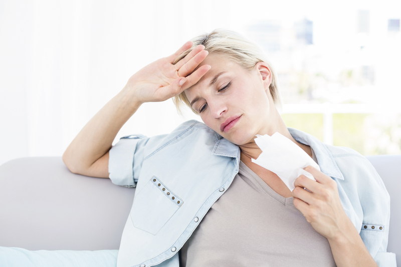woman struggling with indoor air quality